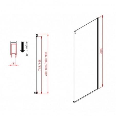 Porte de douche coulissante effet miroir 160 cm