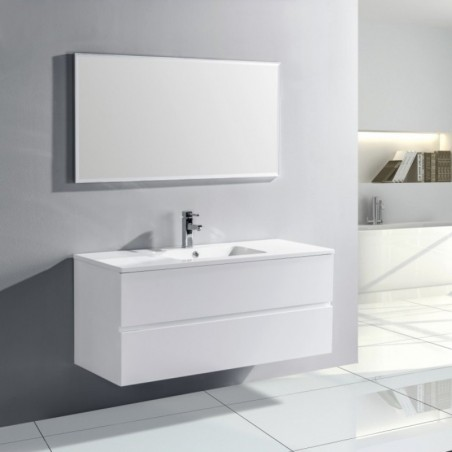 Pack trinit meuble simple vasque 120 cm blanc laqu - Lavabo salle de bain encastrable ...